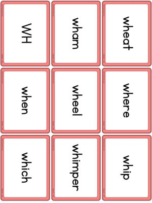 Preview of Word cards, WH