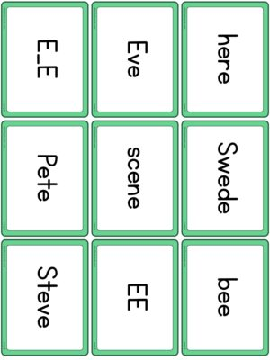 Preview of Word cards, Long E