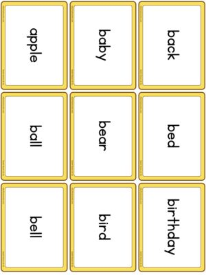 Preview of Word cards, Nouns 1 (A to G)