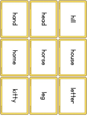 Preview of Word cards, Nouns 2 (H to W)