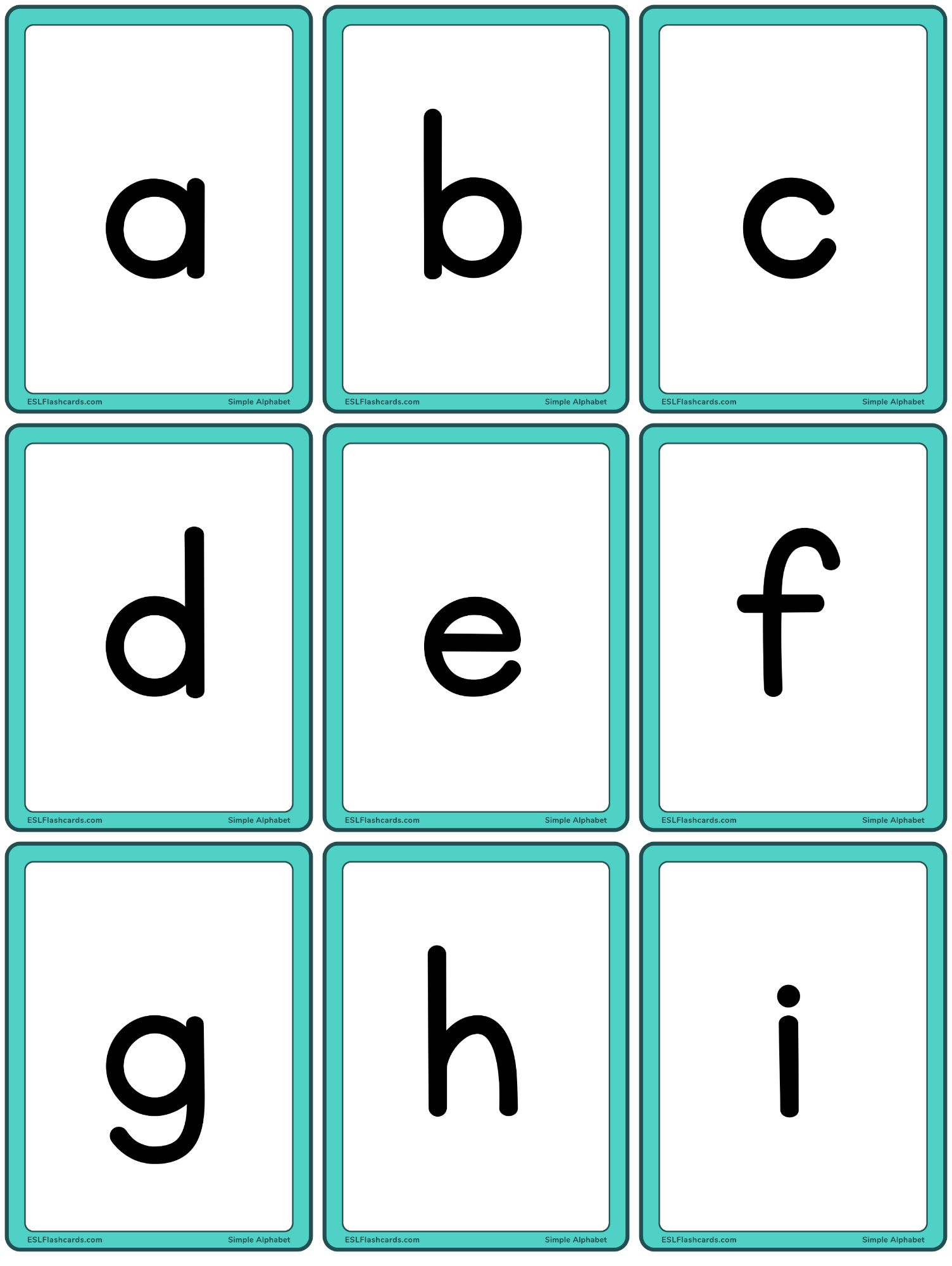 Simple Alphabet Esl Flashcards