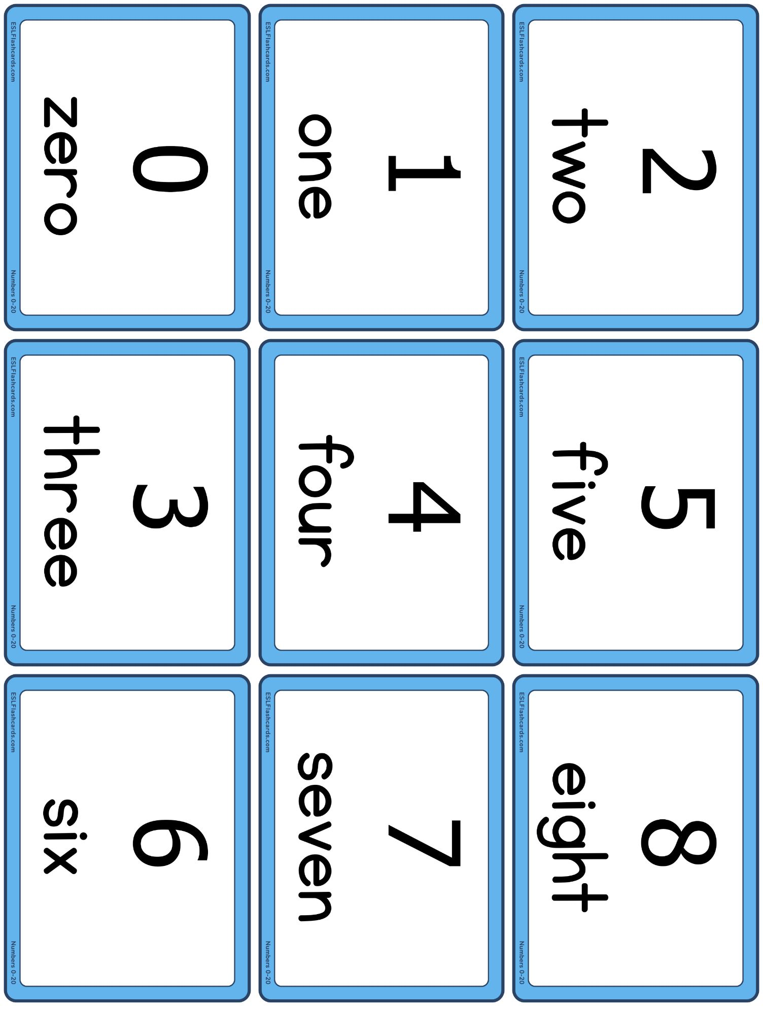 Numbers 0 To 20 Esl Flashcards