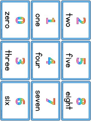 Preview of Numbers with spelling, Small, Rainbow