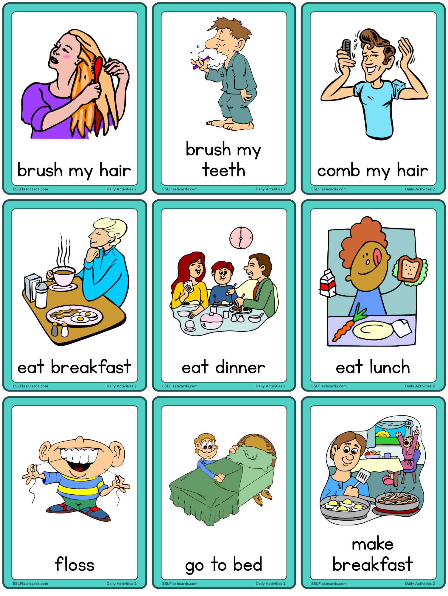 Daily Activities Set 2 Esl Flashcards