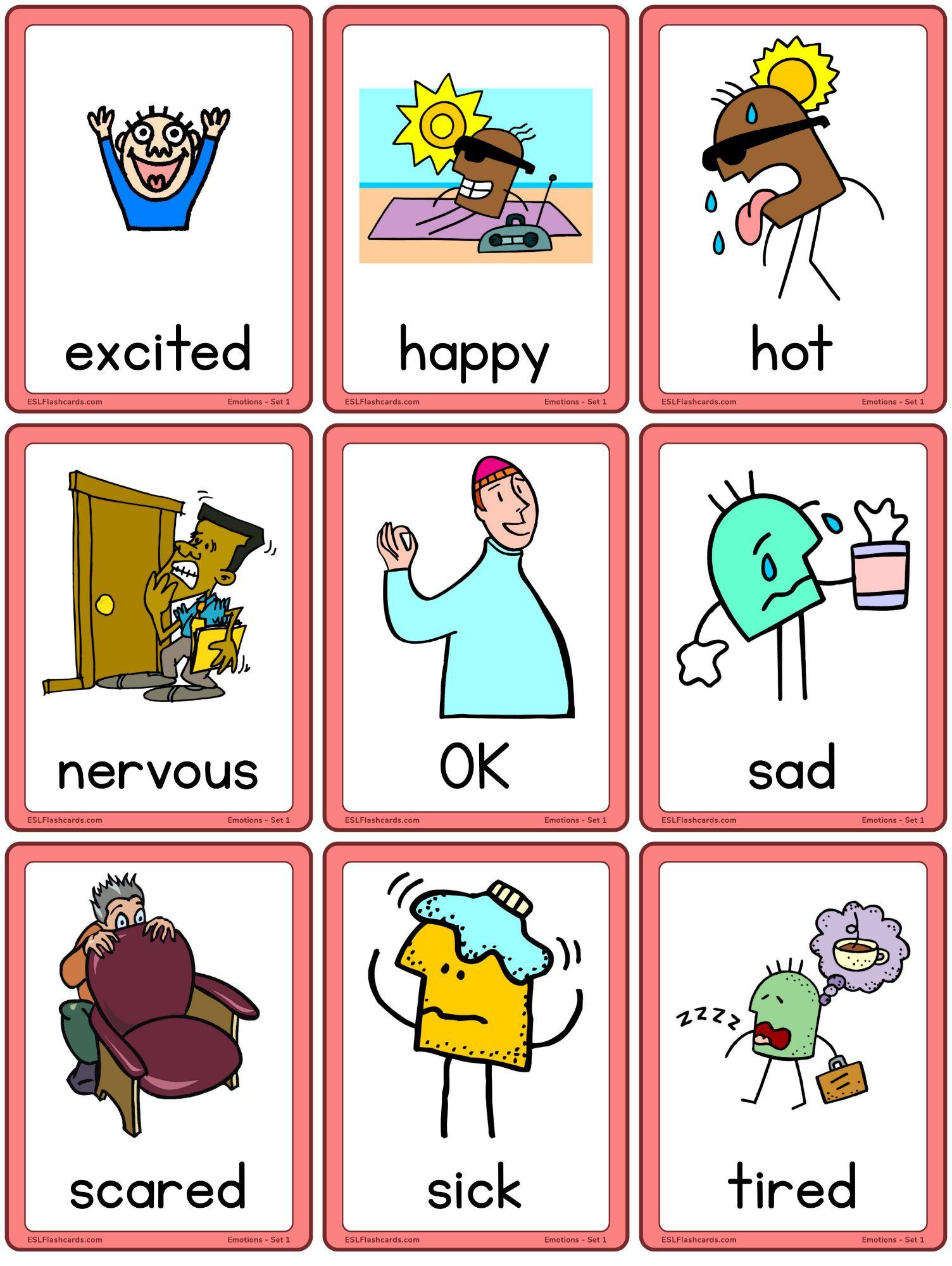 Emotions Flashcards For Children Esl Flashcards